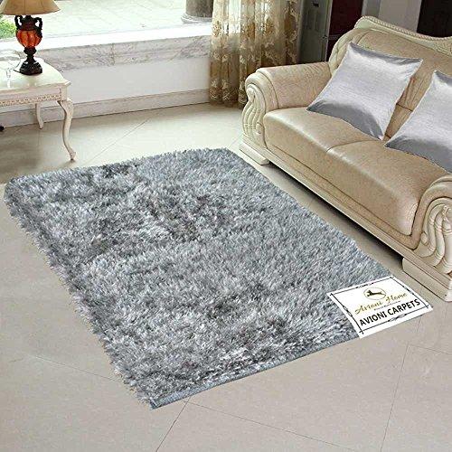 Avioni Handloom Rugs Carpets For Living Room In Soft Fur Reversible Silver...