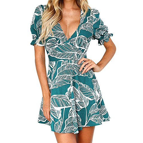 DAYLIN Newest Clearance Women Girl Daily Brief ↔V Neck ↔Leaves Printing Short Sleeve Princess Beach Bohemia Dress