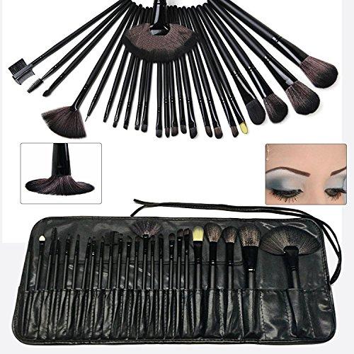 Eouine 24 Pièces Pinceaux Maquillage, Bois Makeup Brushes Visage Maquillage Brosse Professionnel Kit de beauté Outils pour Sourcils, Yeux, Joues (Noir)