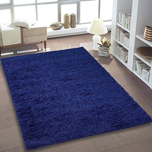 Shaggy Teppich Hochflor Langflor Teppiche fürs Wohnzimmer und Schlafzimmer geeignet sowie für die Küche und Kinderzimmer Ökotex 100 zertifiziert (160x230 cm, blau)