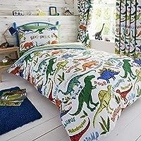 Happy Linen Company Childrens Boys Girls Dinosaur Park Jurassic T-Rex Dino Green Reversible Single Bedding Duvet Cover Set
