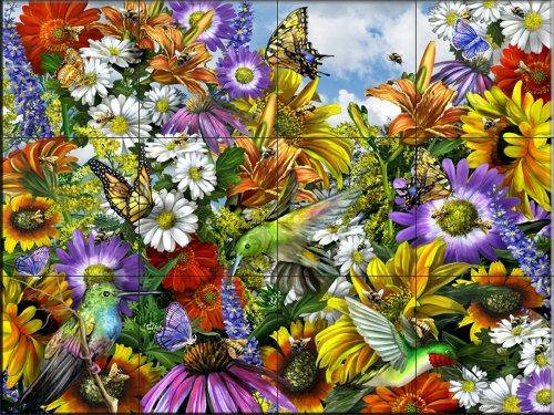 Fliesenwandbild - Save the Bees w/Hummingbirds - von Lori Schory - Küche Aufkantung/Bad Dusche (Bad Hummingbird)