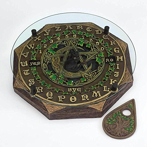 Fantasy Gifts Black Cat and Crescent Moon Ouija Board with Planchette and Glass Top Paranormal -