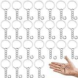 100 Pcs Portachiavi Catena+Anelli di Salto Aperti,Anelli Portachiavi de 25mm,Portachiavi a Catena Split Ring,Portachiavi Anel