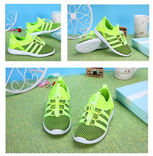 LKOUS Kinder Jungen Mädchen schnüren sich oben Turnschuhe Sportkleidung beiläufige Spinning-Turnschuh Paare Schuhe [6 Farben] Grün 1