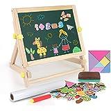 BeebeeRun 3 en 1 Tableau Chevalet Enfant,Double Face Magnétique Tableau Noir et Blanc Accessoires Alphabet Puzzle,Jouet Educa