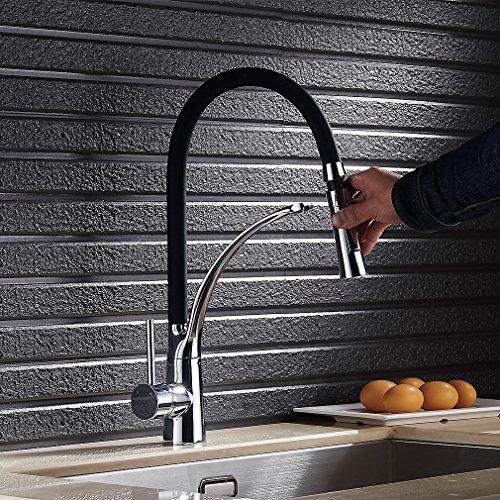 Auralum - Moderne Küchenarmatur mit flexibler Brause, Schwarz