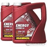 10 (2x5) Liter MANNOL SAE 5W-30 Energy Combi LL Motoröl / Longlife III / API SN/CF, ACEA C3, BMW Longlife-04, MB 229.51, PORSCHE C30, VW 504.00/507.00/502.00/505.00/503.01/506.00/ 505.01*/506.01**