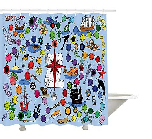 Yeuss Brettspiel Duschvorhang von Pirate Themed Game Start und beenden Sie Bunte Spots Meerestiere nautische Symbole, Stoff Badezimmer Dekor Set mit Haken, Multicolor