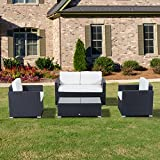 Outsunny 841-087 Garden Rattan Furniture  Sofa Table Outdoor Wicker Weave Chairs Patio Set  - Black (4-Piece)