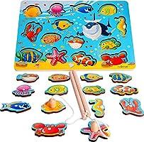 Rolimate Magnetisch Visspel Houten Vissersspeelgoed Beste Cadeau voor 3 4 5+ Jaar Jongen Meisje Peuter Kinderen, 2...