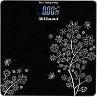 ZILANT Thick Tempered Glass and LCD Display Electronic Digital Personal Bathroom Health Weighing Scale for Human Body Weight (Black)