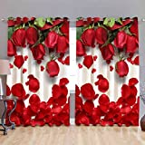 #8: CAIRO CURTAINS, HD Digital Print, Premium Quality, 4 x 5 Feet, Knitting Fabric, Fast Colors, 1 Pcs-Window Size, Red Rose