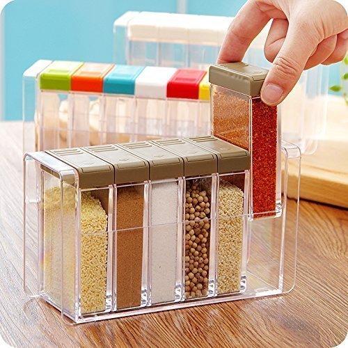 MIRAZ Plastic Spice Jar Set (Pink) – Pack of 6