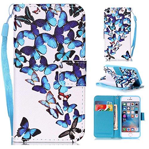 Leather Case Cover Custodia per iPhone 5 5S 5G / iPhone SE ,Ecoway Caso / copertura / telefono modello di colore disegno in dipinto di progettazione Folio PU a libro con carta PU Custodia in pelle Por Gruppo farfalla