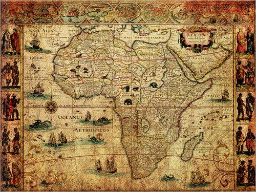 Posterlounge Leinwandbild 80 x 60 cm: Afrika 1660 von Michaels Antike Weltkarten - fertiges Wandbild, Bild auf Keilrahmen, Fertigbild auf echter Leinwand, Leinwanddruck