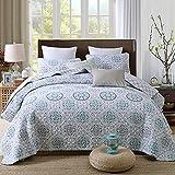 LRQY Geometrisches Muster Gedruckt Reversibel Tagesdecken Einfach Gesteppt 100% Baumwolle Bettwäsche Mit 2 Kissenbezüge 230 x 250 cm (91 x 98 Zoll),Green