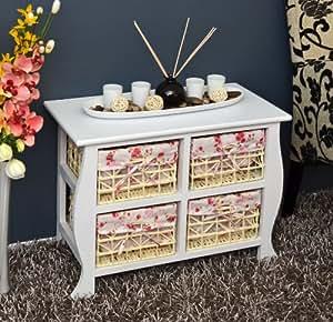 landhaus antik stil kommode wei schrank badregal weiss nachttisch mit vier k rben. Black Bedroom Furniture Sets. Home Design Ideas