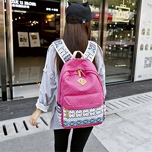 Go Further Geometry Punkt beiläufig Leinwand Reisetasche Sport Schultern grau Rucksack für Jugendliche Rosa