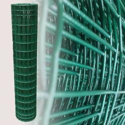 25 Meter Maschendrahtzaun Gitterzaun Drahtzaun grün Höhe 150 cm Maschenweite 5 x 10 cm Gartenzaun