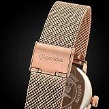 Gigandet Quarz Damen-Armbanduhr Minimalism Multifunktion Uhr Datum Analog Edelstahlarmband Rotgold Silber G38-008 - 6