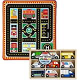Bundle Includes 2 Items - Melissa & Doug Round The City Rescue Rug With 4 Wooden Vehicles (39 X 36 Inches) And Melissa & Doug Wooden Town Vehicles Set In Wooden Tray (9 Pcs)