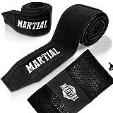 Boxbandagen von MARTIAL (4,5m) mit bestem Klett und Daumenschlaufe. Bandagen ohne Ausleiern für MMA, Boxen, Kickboxen & Sparring! Handgelenkbandage schwarz, optimale Schweißaufnahme und Beutel!