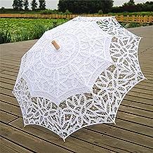 Gazechimp Paraguas Sombrillas Manuales Encaje Algodón Decoración para Boda Nupcial Fiesta Blanco