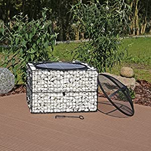 clgarden gfs1 reg brasero gabion avec grill barbecue en pierre gabin jardin. Black Bedroom Furniture Sets. Home Design Ideas