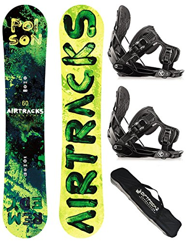 AIRTRACKS SNOWBOARD SET / POISON SNOWBOARD ROCKER + SOFTBINDUNG FLOW FIVE + SB BAG / 150 155 160 / cm