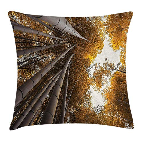 MSGDF Nature Throw Pillow Cushion Cover, Bottom to Top Bamboo Grove Fall Landscape Potential for Improvement Symbol Print, Decorative Square Accent Pillow Case, 18 X 18 inches, Yellow Brown Bamboo-bikini-top