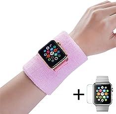 Dee Plus Schweißbänder 2 Stück für Apple Watch Sport Wristbands Absorbierende Sweatbands für iWatch Series 3/2/1 mit Löchern Adapter & Panzerglas für Tennis Fußball Basketball Leichtathletik Fitness
