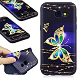 Samsung Galaxy A5 2017 Case, Samsung Galaxy A5 2017 Silicone TPU Transparent Cover, COZY HUT Premium Ultra Slim Thin Silicone Flexible Quality TPU Soft Pattern Design Cute Black Cover, Gel Plastic Protective Shock Absorption Proof Drop Defend Anti Scratch Shell for Samsung Galaxy A5 2017 - Golden butterfly