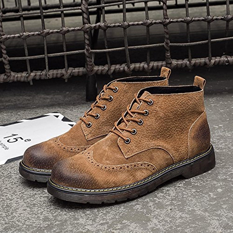 HL-PYL, botas altas botas botas botas botas Retro Martin auxiliar en el Varón.,42,marrón amarillento