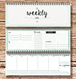 "'""My Weekly Planner Green Desktop Calendar/week to view diary in landscape format With us a beautiful desktop calendar available in the dimensions 103 x 297 mm in DIN A4/Half Size for general use in many applications.Here you can for every day your a..."