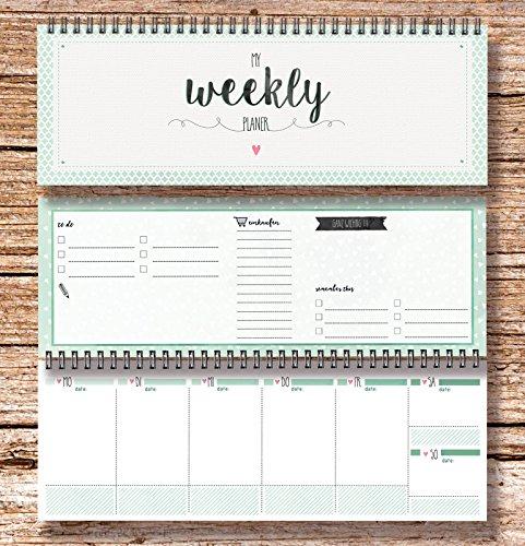 Settimane Calendario.My Weekly Planer Verde Calendario Da Tavolo Agenda