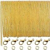 LuLyLu 33 Pies de Cadena de Enlace Chapado de Oro Collar de Cadena con 30 Anillas de Salto y 20 Cierres de Langosta para Hombres Mujeres Fabricación DIY de Cadena de Joyería (2,5 mm) by
