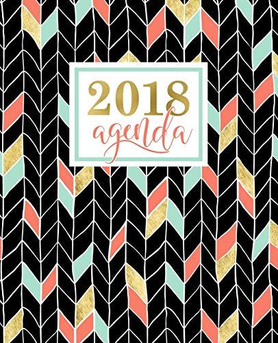 Agenda: 2018 Agenda settimanale italiano : Oro, Corallo e Motivo a zigzag verde menta : 19x23cm: Volume 12
