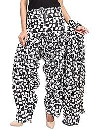 BILOCHI'S Women Printed Solid Cotton Full Patiala Salwar With Dupatta Set(Free Size, Black & White) - B076ZN33MK