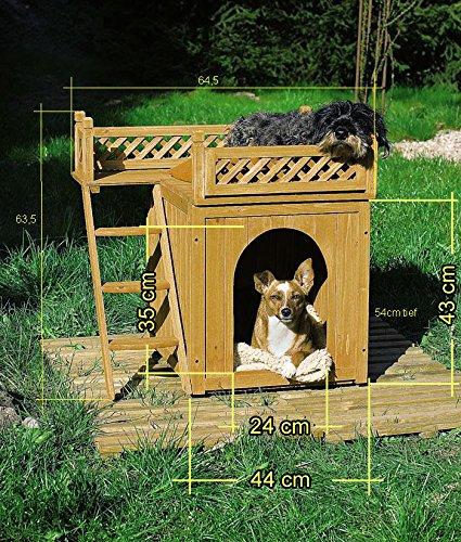 Hundehütte Hundehaus Katzenhaus Hundehöhle Tierhaus Hund Holz Box Garten Sonnenterasse - 5