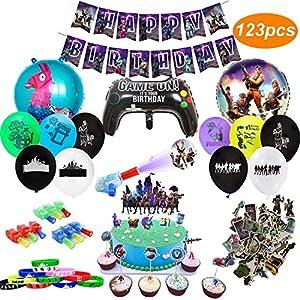 Geburtstagsfeier Party Zubehör für Spielliebhaber, 123 Stück Thema Party Dekorationen - inkl. Luftballons, Banner, Armbänder, Fingerlichter, Aufkleber, Torten-Aufsatz, Cupcake-Aufsätze
