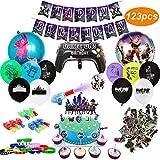 Fournitures de Fête d'Anniversaire pour Fans de Jeu Décorations de Fêtes - Lot de 123 Pièces- Thème de jeu - Comprend Ballons, Bannières, Bracelets, Lumières de doigt, Autocollants, Gâteaux Toppers