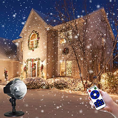 LED Projektionslampe Schneeflocke Projektor Licht Wasserdicht Schneefall Projektor Leuchten mit Fernbedienung Dekoration für Draussen/Innenraum/Garten/Hochzeit/Party/Valentinstag/Weihnachten
