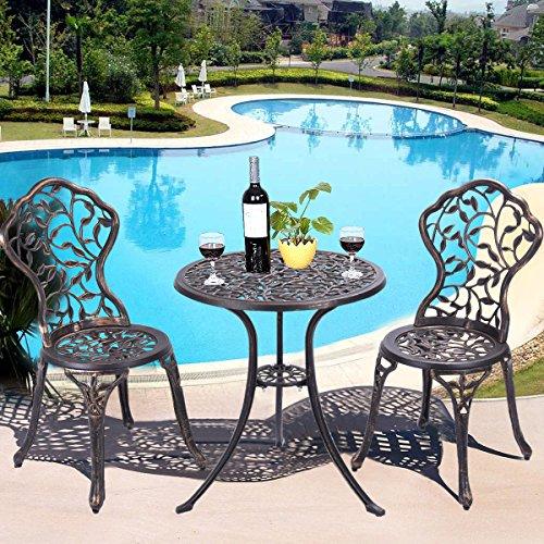 COSTWAY 3tlg. Bistroset Balkonset Gartenset Sitzgruppe Sitzgarnitur Gartengarnitur Gartenmöbel Bistrotisch Gartentisch mit 2 Stühlen Metall antik