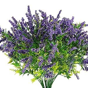 HUAESIN 4Pcs Plantas Artificiales Exterior UV 35cm Flores Lavanda Artificiales Decoracion Falsa Flores de Plástico Verde…