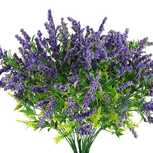 HUAESIN 4pcs Künstliche Lavendel Blumen Pflanzen Kunstblumen Lila Künstlich Grünpflanzen Wetterfest Plastikblumen Kunstpflanze für Balkon Draußen Garten Hochzeit Vase Dekoration
