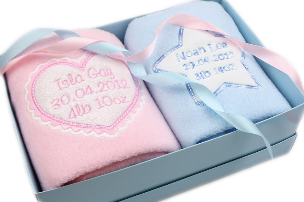 Personalised baby gift twins blankets newborn twin gift set any personalised baby gift twins blankets newborn twin gift set any combination amazon baby negle Gallery