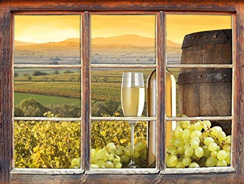 Vines con la bottiglia di vino e la finestra barile adesivi murali 3D Formato: decorazione della parete 92x62cm 3D Wall Stickers murali Stickers