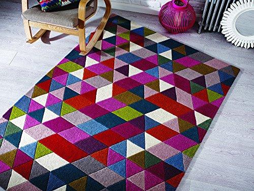 Lord of Rugs Illusion Prism Dick Modern handgetuftet Wolle Geometrie Design Pink Multi farbige Teppich in 3Größen, Wolle, Mehrfarbig, 120 x 170 cm (4' x 5'6'') - Prism Multi Teppich