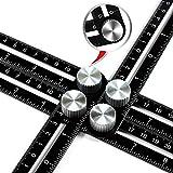 Multi Winkel Messung Lineal–toogou Premium Aluminium Legierung Easy Angle Lineal, Präzise Winkel Lineal Vorlage Werkzeug mit gratis aus PU, tolles Geschenk für Heimwerker Heimwerker Builders Schreiner, Fliesenleger, schwarz